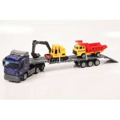 Model nákladního auta Mondo Motors tahač s návěsem přeprava stavební techniky - 1:65