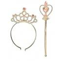 Korunka a hůlka pro princeznu stříbrná růžová