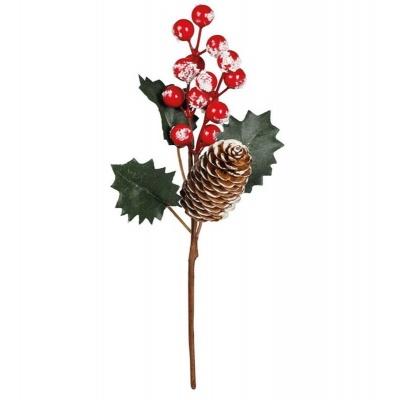 Vánoční dekorace zápich s šiškou 25cm