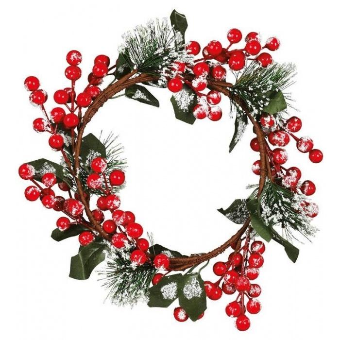 Vánoční dekorace věnec cesmína 22cm