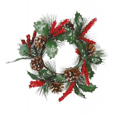 Vánoční dekorace věnec s šiškami 16cm