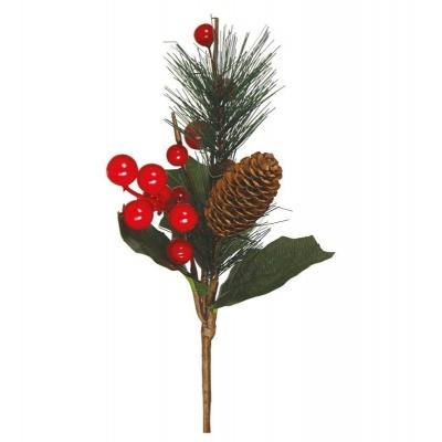 Vánoční dekorace zápich s bobulemi a šiškou 25cm