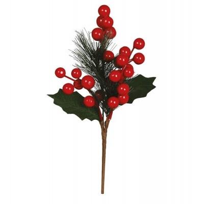 Vánoční dekorace zápich jehličí s bobulemi 25cm