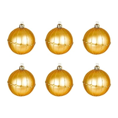 Vánoční ozdoby koule zlaté 6ks 60mm plastové