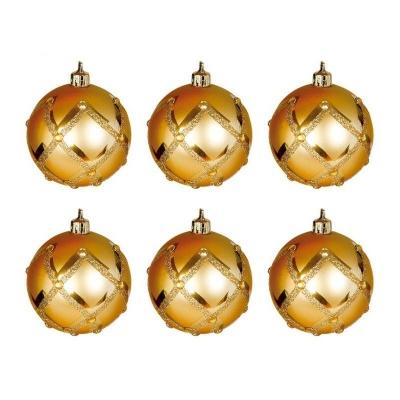 Vánoční ozdoby koule 6ks 60mm plastové zlaté