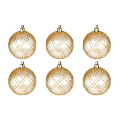Vánoční ozdoby koule stříbrné zlaté 6ks 60mm plastové