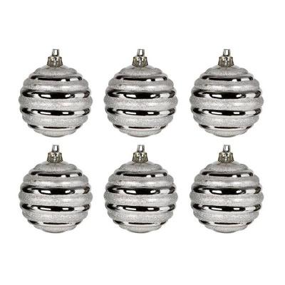 Vánoční ozdoby koule stříbrné proužky 6ks 60mm plastové