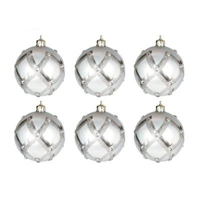 Vánoční ozdoby koule stříbrné s kamínky 6ks 60mm plastové