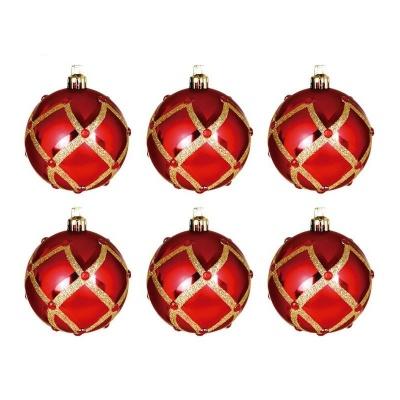 Vánoční ozdoby koule červené s kamínky 6ks 60mm plastové