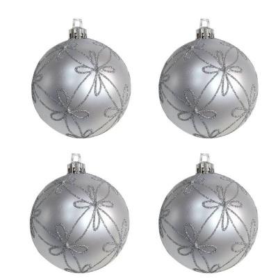 Vánoční ozdoby koule stříbné zdobené 4ks 70mm plastové