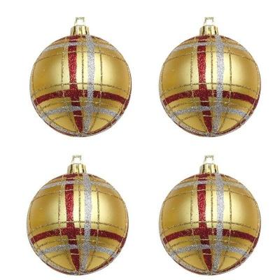 Vánoční ozdoby koule zlaté zdobené proužky 4ks 70mm plastové