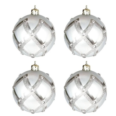 Vánoční ozdoby koule stříbrné s kamínky 4ks 70mm plastové