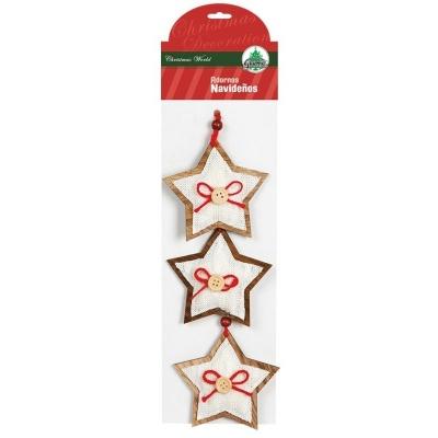Vánoční ozdoby 3ks dřevěné hvězdičky s knoflíky 9 cm