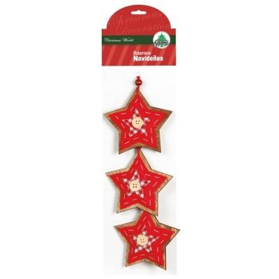 Vánoční ozdoby 3ks dřevěné hvězdičky s knoflíky červené 9 cm
