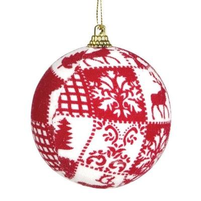 Vánoční ozdoba velká textilní koule červeno bílá 8 cm
