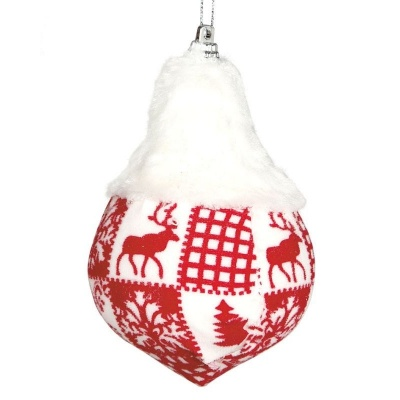Vánoční ozdoba velká textilní špička červeno bílá 11 cm