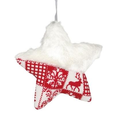 Vánoční ozdoba textilní hvězda červeno bílá 12 cm