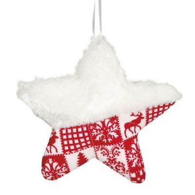 Vánoční ozdoba velká textilní hvězda červeno bílá 15 cm