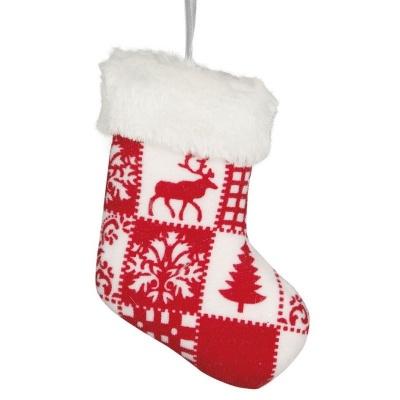 Vánoční ozdoba velká textilní punčocha červeno bílá 13 cm