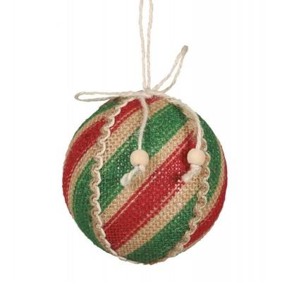 Vánoční ozdoba velká textilní koule pruhovaná 8 cm