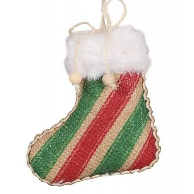 Vánoční ozdoba velká textilní punčocha pruhovaná 12 cm