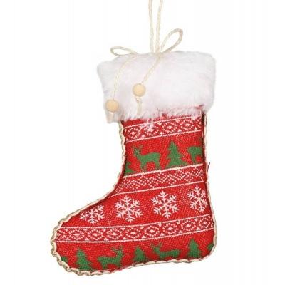 Vánoční ozdoba velká textilní punčocha červená 16 cm
