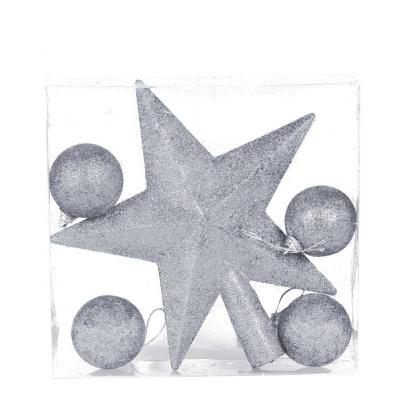 Vánoční ozdoba hvězda na špičku 19cm a 4ks koule stříbrné