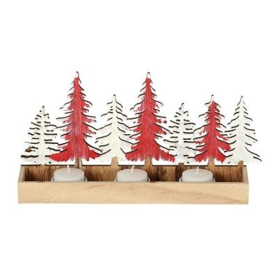 Vánoční dřevěná dekorace svícen na 3 svíčky 28 x15 cm