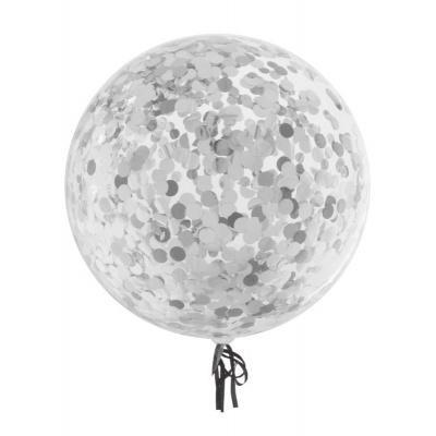 Balónek se stříbrnýmii konfetami 45cm