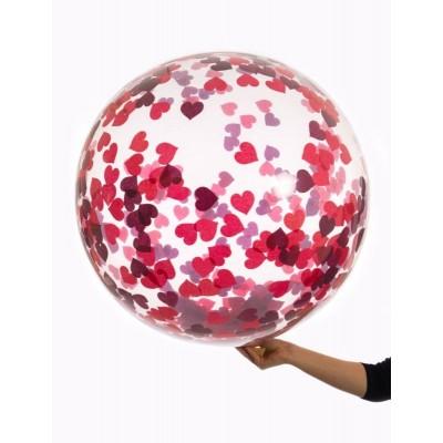 Balónek s konfetami srdíčka