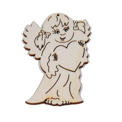 Vánoční ozdoba na zavěšení - Anděl se srdcem 8cm