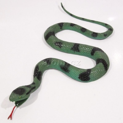 Gumový had zelený 27cm