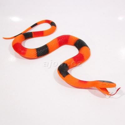 Gumový had oranžový 27cm
