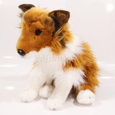 Plyšový Pes kolie hnědá 30 cm