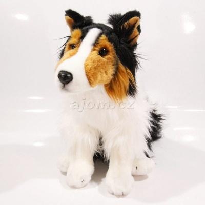 Plyšový Pes kolie černá 30 cm