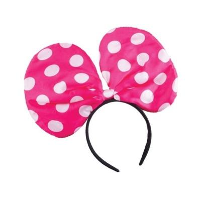 Čelenka - mašle s puntíky růžová