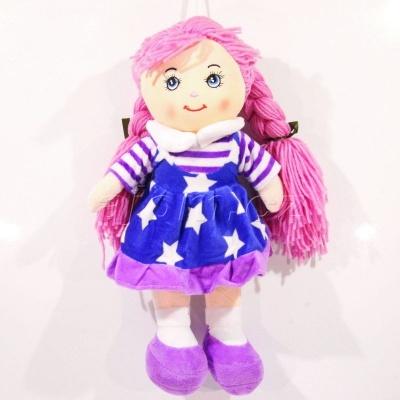 Textilní panenka s copy hvězdičky - modrá 37cm