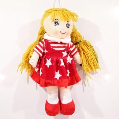 Textilní panenka s copy hvězdičky - červená 37cm