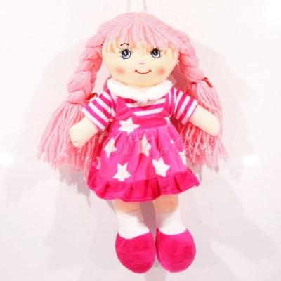Textilní panenka s copy hvězdičky - růžová 37cm