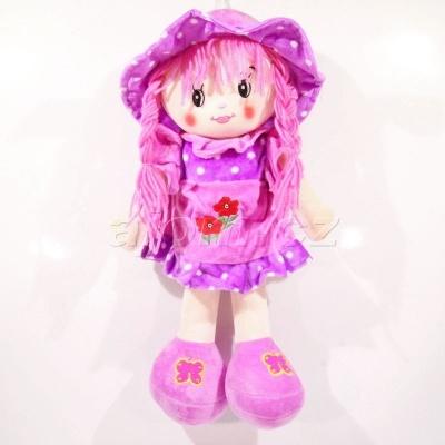 Textilní panenka s čapkou - fialová 40cm