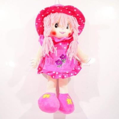 Textilní panenka s čapkou - růžová 40cm