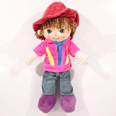 Textilní panenka kluk v růžové bundě 33cm