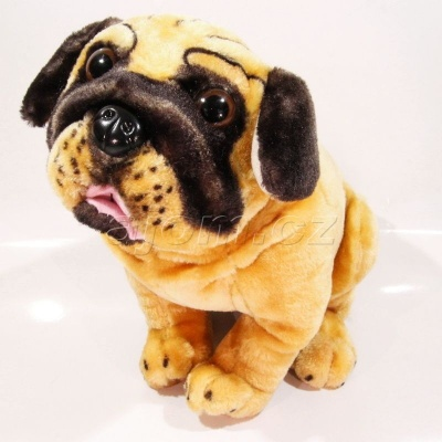 Plyšový Pes mops sedící 30 cm