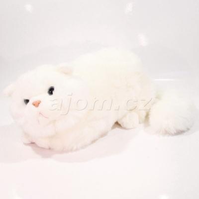 Plyšová Kočka ležící bílá 42cm