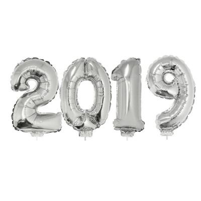 Foliové balónky čísla 2019 s tyčkou - stříbrné