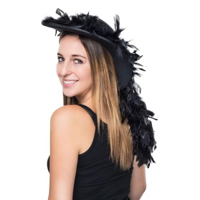 4636eb0c1ea Dámský klobouk s peřím - černý - ajom.cz