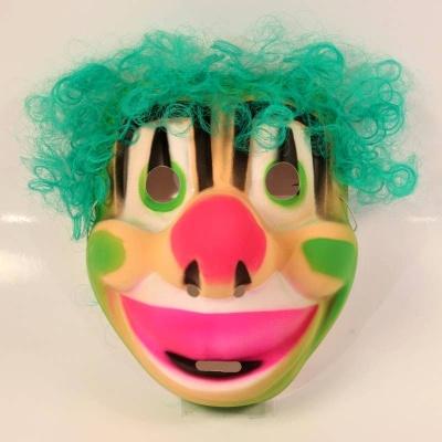 Maska Klaun s vlasy - zelená