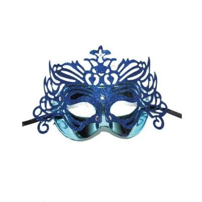 Škraboška maska benátská s korunkou - modrá