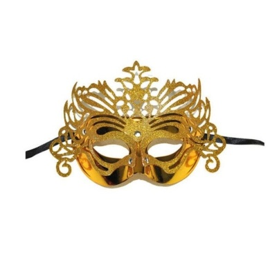 Škraboška maska benátská s korunkou - zlatá