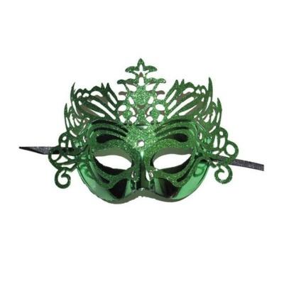 Škraboška maska benátská s korunkou - zelená
